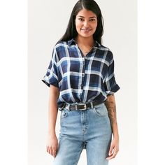 BDG Lizzie Surplice Button-Front Shirt (80 AUD) ❤ liked on Polyvore featuring tops, tartan plaid shirt, plaid shirt, short-sleeve shirt, blue plaid shirt and plaid top