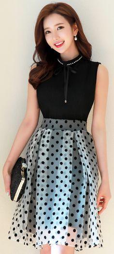 StyleOnme_Polka Dot Sheer Flared Skirt #blackandwhite #polkadot #flared #skirt #elegant #retro #feminine #spring #koreanfashion #kstyle #seoul