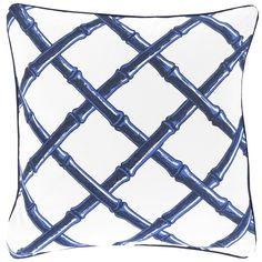 Surya Bamboo Cobalt Blue & Ivory Lattice Decorative Pillow SUFBB0022020P