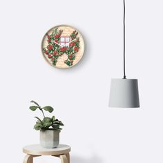 Watercolor window and wall with climbing roses wall clock by Anastasia Shemetova #watercolor #watercolour #faerieshop #provence #wall #stone #flowers #climbing #roses #redbubble #home #decoration