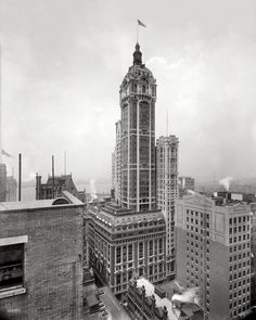 "New York circa 1908. ""The Singer Building."" Shortly after its completion. 8x10 inch glass negative, Detroit Publishing Company."