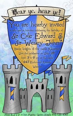 Knights and Castle Birthday Invitation Printable. $10.00, via Etsy.