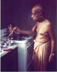 Prabhupada cooking with love.