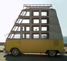 VW Bus quadruple decker We insure custom cars with the proper insurance to cover your special needs get your Car Insurance in Eugene at House of Insurance. Bus Vw, Vw T1 Camper, Auto Volkswagen, Kombi Motorhome, Volkswagon Van, Location Camping Car, Vw Camping, Camping Ideas, Motorcycle Camping