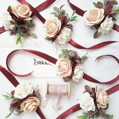 before wedding quotes Burgundy blush flower wrist corsage Fall burgundy wrist corsage Burgundy blush Bridesmaid wrist corsage Burgundy blush flower bracelet Blush Flowers, Bridal Flowers, Fall Flowers, Paper Flowers, Wedding Bridesmaids, Wedding Bouquets, Hair Wedding, Wedding Dresses, Party Dresses