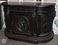 Antique buffet, carved antique furniture