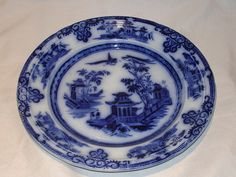 MID1800S English Ironstone Flow Blue Plate by J Clementson Chusan Pattern VGC | eBay