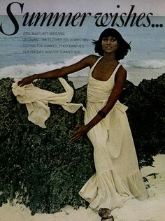 Beverly Johnson for Vogue: Editorial Summer Wishes, May 1975.