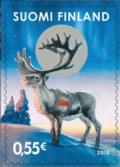 Christmas postage stamp from Finland Lappland, Postage Stamp Art, Thinking Day, Stamp Collecting, Mail Art, Vintage Travel, Vintage Posters, Reindeer, Scandinavian