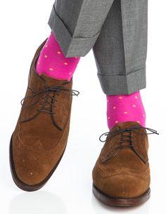 Dapper Classics Rose with Yolk Polka-Dot Linked Toe Sock