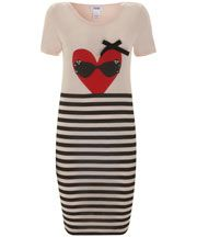 sonia by sonia rykiel  Pink Heart Print T-Shirt Dress. Liberty of London.