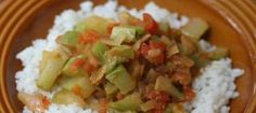 Stewed Chayote and Tomatoes over Rice