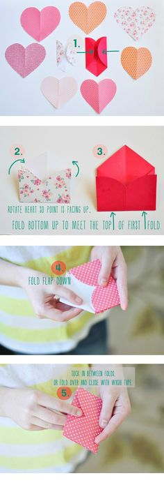 How to fold paper hearts into tiny envelopes for Valentines Day via http://mommycoddle.com