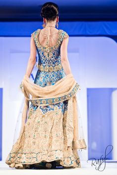 blue + gold lengha #Maybe something Kelsey would wear. Blue for dhiren and gold for kishan.