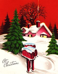 Vintage Christmas Card Cottage