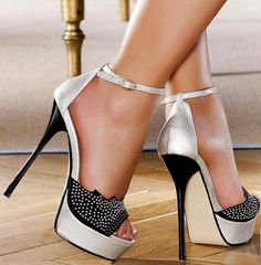 Beautiful Silver And Black Heels
