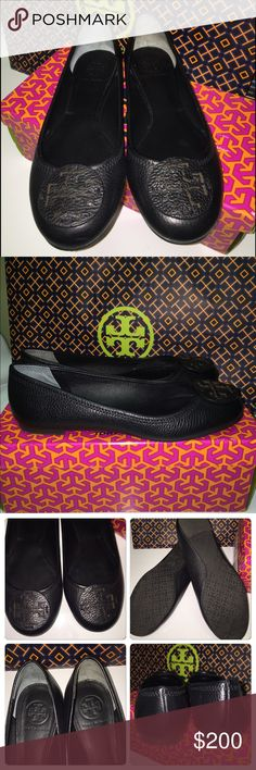 Tory Burch Reba Flat 7.5 Black Tumbled Leather EXCELLENT CONDITION! Worn only a few hours, minimal wear. Comes with box and shopping bag. Please ask any questions, thx for looking! Tory Burch Shoes Flats & Loafers