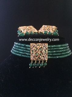 Made upon order Can be used as Dual choker as well as a short necklace set with earrings Square shaped pendants Made using onyx beads and polki 22 carat gold plated Delivered within weeks Tikka Jewelry, Indian Jewelry, Pearl Jewelry, Antique Jewelry, Gold Jewellery, Pearl Choker, Beaded Choker, Short Necklace, Necklace Set