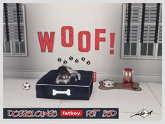 Doggielounge Stonewash Fatboy Pet Bed by Daeron for The Sims 4