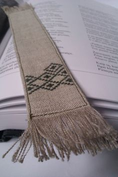 Linen Bookmark / Cross-stitched bookmark with ethnic ornaments on Etsy, $9.00