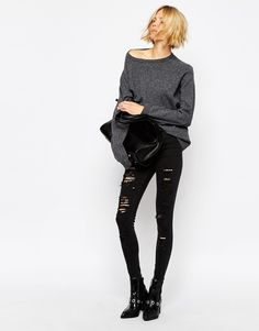 Waven High Rise Skinny Jeans With All Over Rips & Distressing