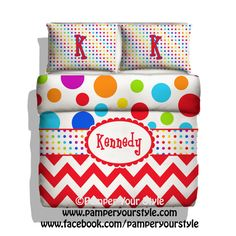 Chevron Bedding  Chevron and Polka Dot by PAMPERYOURSTYLE on Etsy, $139.00 Polka dot Bedroom  Bedroom Ideas