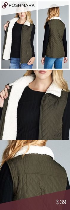 """🎉 NEW ARRIVAL 🎉 Shearling lined Quilted Vest Olive Shearling lined quilted vest. 100% Polyester. Faux Shearling lined. BUST: S-18"""", M-19"""", L-20"""". Measured laying flat. LENGTH: S-24"""", M-25"""", L-26"""". TK975232. Price is firm unless bundled 😉 2 a T Boutique  Jackets & Coats Vests"""