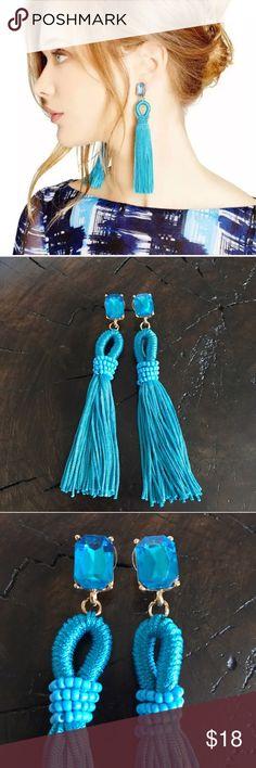 "Long Teal Beaded Dangle Crystal Tassel Earrings Long Teal Beaded Dangle Crystal Tassel Earrings. Features Blue Crystal Studs. 4"" in length. Jewelry Earrings"