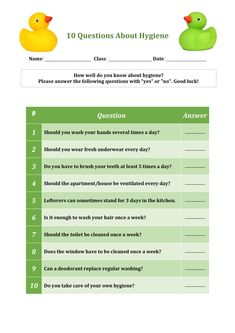 Looking for printable worksheets for your kids to practice at home or for classroom lesson? Get Educational Worksheets for Kids on this page and help your child master key skills I English and Math. Fun Worksheets For Kids, Printable Preschool Worksheets, Math For Kids, Kindergarten Worksheets, Hygiene Lessons, Middle School Health, Health Lesson Plans, Social Emotional Activities, Personal Hygiene