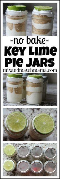 No Bake Key Lime Pie Jars #keylimepie