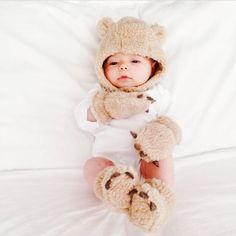 Baby bear hat, slippers, and mittens from Gap
