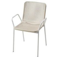 TORPARÖ white, beige, Chair with armrests, in/outdoor - IKEA Patio Dining Chairs, Dining Set, Outdoor Chairs, Outdoor Furniture, Outdoor Decor, Dining Room, Ikea, White Beige, First Home