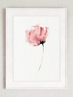 Aquarelle fleur Wall Decor. Tirage dArt abstrait fleur rose délicate. Idée cadeau de décoration Floral rose. Type de papier : Imprime jusquà (42 x 29, 7cm) 11 x 16 pouces taille sont imprimées sur acide darchivage gratuit 270g/m2 blanc aquarelle Fine Art Paper et conserve laspect de