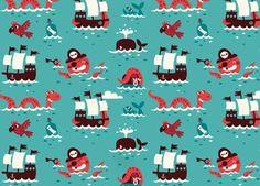 Großartige Vliestapete 'Piraten' BORA | Kindershop Das Kleine Zebra