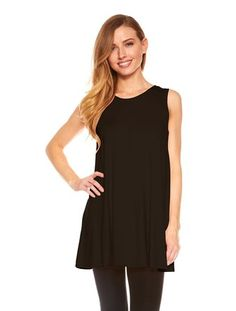 $ 13.99 Womens Sleeveless A-Line Tank Top Tunic Solid Basic Long Flowy Top Color: Black.Tunic Top Perfect for Casual,Normal,Everyday,Party.This is a beautiful,cute and amazing top available at very cheap prices.Will be available in various colors and sizes.This can be worn during winters.fall,summer,spring.Womens Sleeveless A-Line Tank Top Tunic, Solid Basic Long Flowy Top (Black-S)
