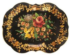 From the French Tole Pente du Lac, tole painting refers to applying paint and lacquer to tin, it began as a way to prevent common household objects from rusting. Tole refers to decorated tin and iron wares from 1700-1900; but most people also use the term to refer to various painted metalware from the late 19th to mid 20th Century.