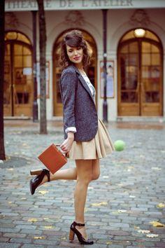 jacket/skirt/shoes combo