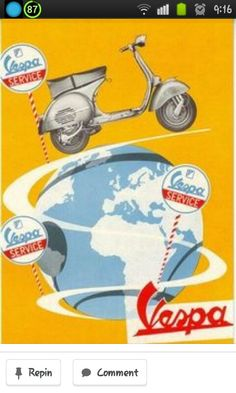 Vintage 1959 Vespa Motor Racing Poster A3//A4 Print