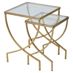 Featuring openwork brass bases and glass tops, these sleek nesting tables offer contemporary appeal for your living room or home library.  ...