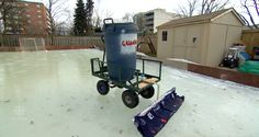 When the ice on the backyard rink or lake are a little bumpy, some will pull out an old hose and bucket to flood and resurface it. But a dad from Dundas, Ontario, had an even better idea. Outdoor Rink, Outdoor Skating Rink, Backyard Ice Rink, Log Cabin Homes, Winter Fun, Dundas Ontario, Bucket, Cottage, Ice Land