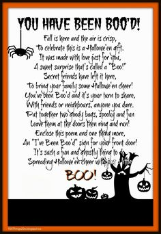 "Halowe'en You've been ""Boo'd"".  Boo'd poem. Free printable."