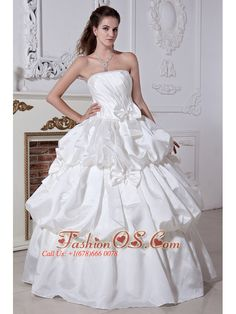 Classical A-line / Princess Strapless Beading and Bows Plus Size Wedding Dress Floor-length Taffeta  http://www.fashionos.com  http://www.facebook.com/fashionos.us  Elegent and romantic.This white wedding dress has a fitted bodice.Beadings and sequins feature the strapless bodice neckline.Pick ups and bows add the charm of this floor length dress.Corset closure can outline your slim figure especially your charming waist.Simple but fashion design is suitable at wedding.