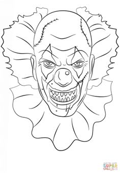 image result for scary clown coloring pages