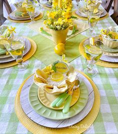 Dining Delight: Mother's Day Lemon Themed Tablescape Yellow Dinner Plates, Yellow Bowls, Battery Operated String Lights, Grace Home, Lemon Slice, Taper Candles, Lemon Yellow, Spring Green, Salad Plates