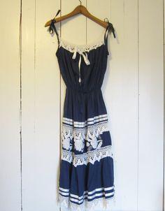 1970s Bohemian Peasant sun dress / Navy blue / by VintageGirLNY,