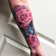 Back Tattoos, Forearm Tattoos, Body Art Tattoos, New Tattoos, Girl Tattoos, Sleeve Tattoos, Tattoo Arm, Watercolor Rose Tattoos, Pink Rose Tattoos