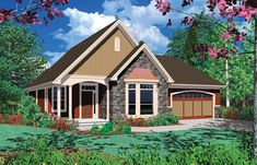 An open and inviting floor plan graces this 3 bedroom cottage style home.  House Plan # 441086.