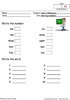Missing Numbers 1-10 - Number Words - Kindergarten Number ...