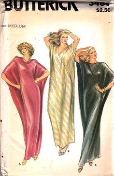 Butterick 3486 1980s Misses Evening Caftan Pattern Asymmetrical Seams Womens Vintage Sewing Pattern Size Medium 12 14 Bust 34 - 36 UNCUT