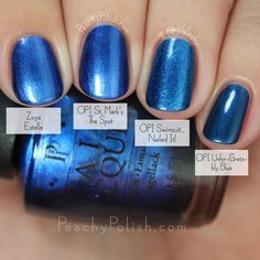 "OPI Venice Collection Comparison: Zoya ""Estelle"", OPI ""St. Mark's The Spot"", OPI ""Swimsuit… Nailed It!"" and OPI ""Unfor-Greta-bly Blue"".  Estelle is almost identical but it seems like it has a little more shimmer than SMTS.  Other than that, I can't spot a difference and most people won't see a difference either."